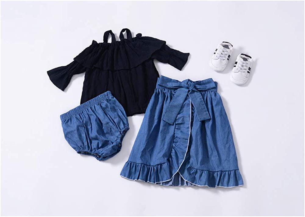 Dragon Honor Baby Girl Toddler Summer Outfits Suit Off Shoulder Strap Shirt Tops Denim Shorts Belt Skirt Clothes Set
