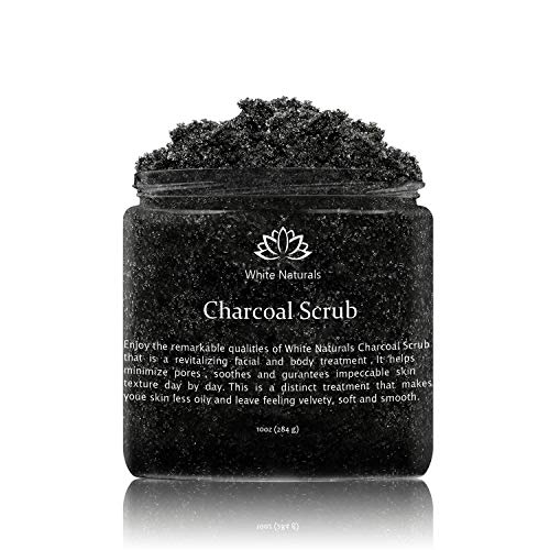 Activated Charcoal Scrub 10 oz By White Naturals: Facial & Body scrub, Reduces Wrinkles, Blackheads & Acne Scars,Natural Skin Care, Face Cleanser,Pure Vegan Scrub For Skin Exfoliation And Detox.