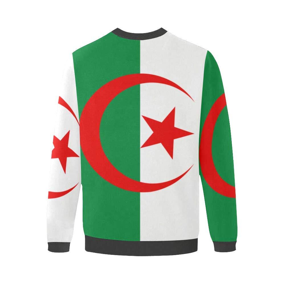 Algeria Flag Mens Pullover Fuzzy Sweatshirt