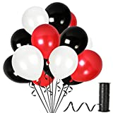 Pack of 100 Red White and Black Latex Balloons Party Decorations Supplies for Valentines Day Christmas Holiday Polka Dot Ladybug Graduation or Birthday