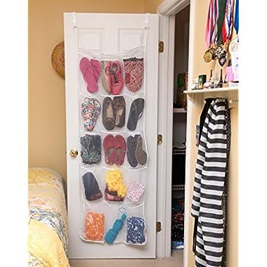 Evelots 15 Pocket Mesh Over The Door Organizer, Hanging Storage, White