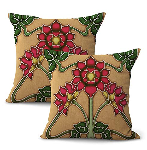 WholesaleSarong Set of 2 Art Nouveau Floral Cushion Cover Throw Pillow Covers
