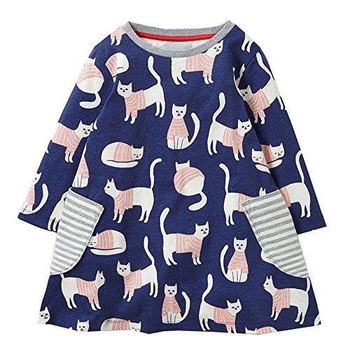 Cute Little Baby Girl Animal Cat Spring Autumn Long Sleeve Top Dress Shirt,7T/135cm,10#manycat -