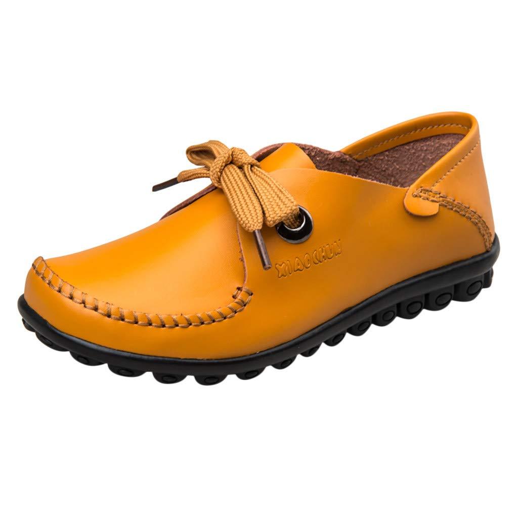 LONGDAY ❤ Women Sneaker Mary Jane Flat Comfort Walking Flat Loafer Lace Up Ballet Flat Ladies Casual Shoe Faux Leather Yellow