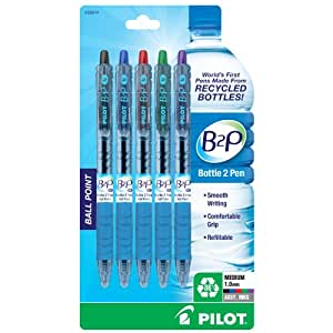 Pilot B2P Recycled Ballpoint Pen, 1.0 mm-Assorted Colors-5 ct