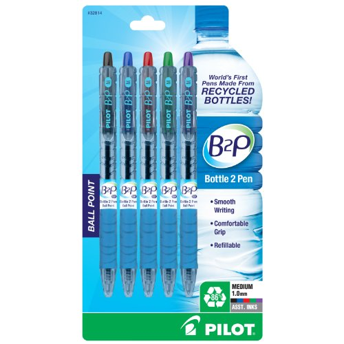 Pilot Bottle-2-Pen (B2P) - Retractable Ball Point Pens Made from Recycled Bottles (5 Count) Medium Point Black/Blue/Red/Green/Purple Ink, Refillable, Comfortable Grip (32814)