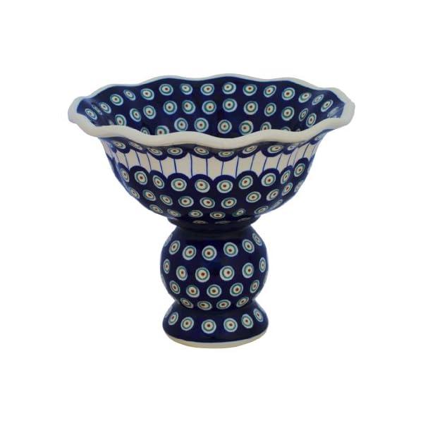 Boleslawiec Pottery Fruit Bowl on Base, Original Bunzlauer Keramik, Decor 8