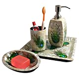 Handmade Sea Shell Luxury 4pcs Bathroom Accessory Set with Soap Dish Liquid Soap Dispenser Toothbrush Holder & Tray Gift Package Decorated Bathroom Accessories Seashell Craft Peacock Feather Design