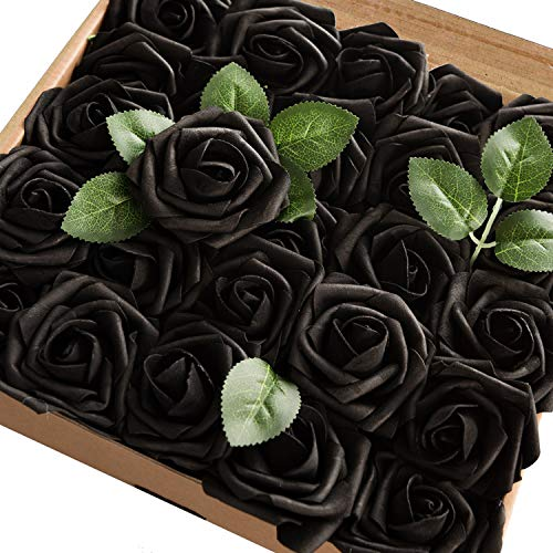 Homcomoda Artificial Flowers Black Rose 30pcs Real Looking Fake Rose with Stem for Wedding Bouquets Arrangements Party Baby Shower Home Decorations (Black)]()