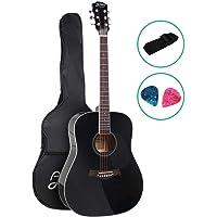 "41"" Acoustic Guitar Wooden Folk Classical Blue Cutaway Strings Carry Bag Shoulder Strap Picks ALPHA"