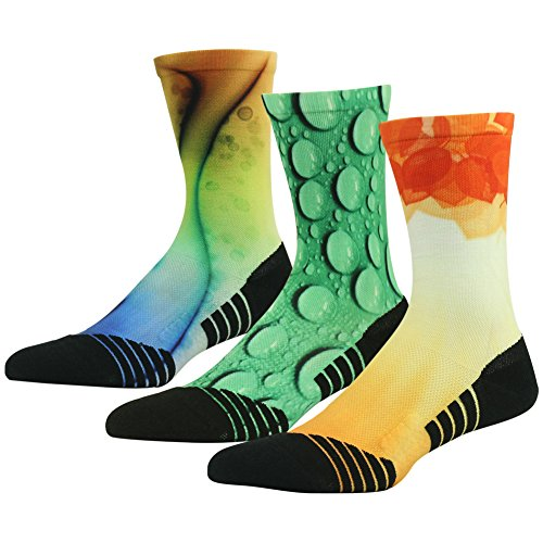 Novelty Colorful Socks, HUSO Men Women Unique Design Athletic Quick Dry Crew Cycling Basketball Socks Best Gifts for Mom Breathable 3 Pairs(Multicolor, -