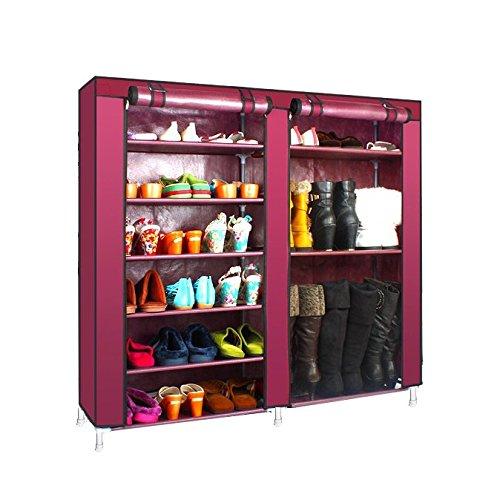 Magshion* Super Portable Closet Rack Storage Cloth Shoe Organizer-3 Style (Shoe Double, Wine)