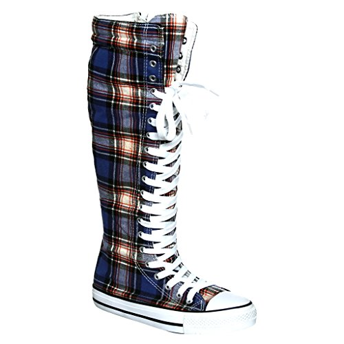 Damesschoenen Met Veters En Veters. Platte Punk Skate Canvas Sneakers B / B / G / Plaid