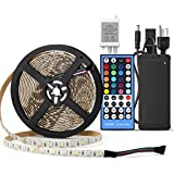 SUPERNIGHT 5M 5050 SMD RGB + Cool White Color Changing Flexible LED Strip Light 300 LEDs Waterproof Festival Decorative LED Light Waterproof with RGBW LED Strip Remote Controller + Power Supply