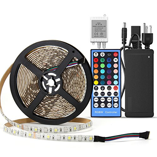 SUPERNIGHT 5M 5050 SMD RGB + Cool White Color Changing Flexible LED Strip Light 300 LEDs Waterproof Festival Decorative LED Light Waterproof with RGBW LED Strip Remote Controller + Power Supply Remote Power Supply