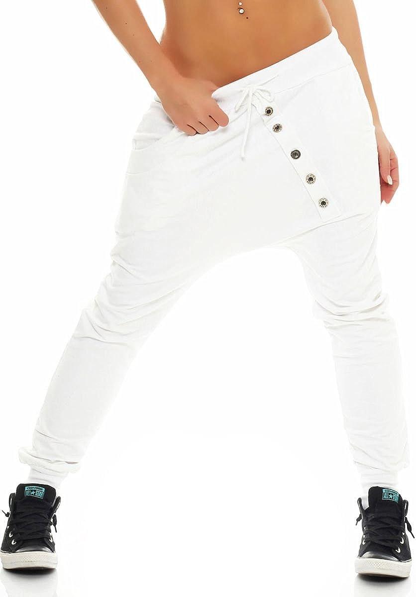 Malito Pantal/ón Boyfriend Classic Bot/ón Baggy Aladin Bombacho Sudadera 8023 Mujer Talla /Única