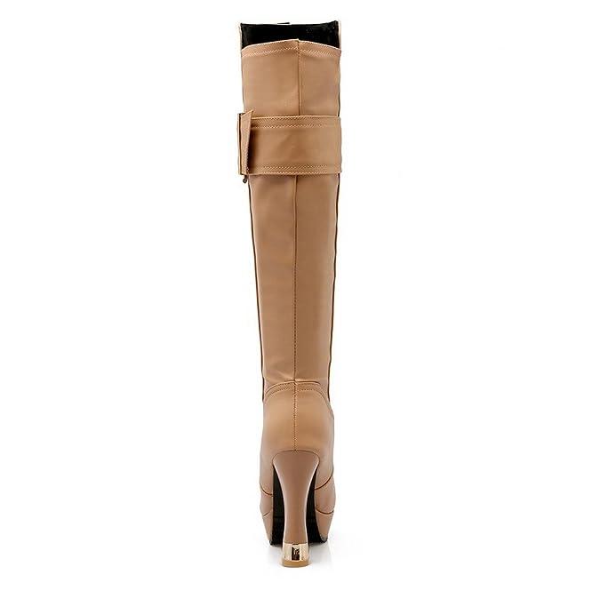 a1b77c5f7 AalarDom Mujeres Puntera Redonda Tacón Ancho Caña Alta Sólido Botas con  Hebilla  Amazon.es  Zapatos y complementos