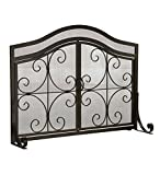 fireplace safety latch - Large Crest Fireplace Screen with Doors, Solid Wrought Iron Frame with Metal Mesh, Decorative Scroll Design, Free Standing Spark Guard 44 W x 33 H x 13 D, Black Finish
