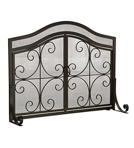 Large Crest Fireplace Screen with Doors, Solid Wrought Iron Frame with Metal Mesh, Decorative Scroll Design, Free Standing Spark Guard 44 W x 33 H x 13 D, Black Finish - Decorative Scroll Fireplace Screen