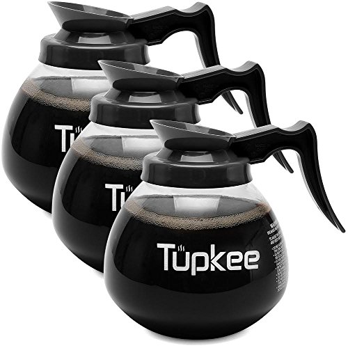 Tupkee Coffee Pots Decanter Carafe - Commercial Cofee Pot Replacement - Glass, 64 oz. 12-Cup, Set of 3 Black Handle - Regular