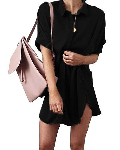 Mujeres Bluas Con Manga Corta Camisa Blouses T Shirt Pullover Tunica OL Sólido Color