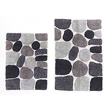 Cotton Craft - 2 Piece Bath Rug Set - Pebbles Stones with Spray Latex Back - Grey Multi - 100% Pure Cotton - High Quality and absorbent - Super Soft and Plush - Hand Tufted Heavy Weight Durable Construction - Larger Rug is 21x32 Oblong and Second Rug is Oblong 18x24 - Easy care machine wash