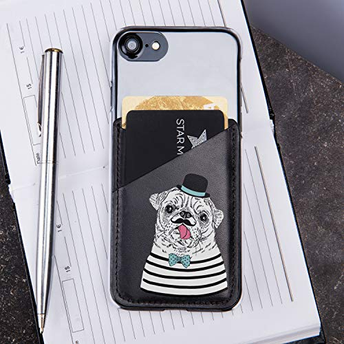 WolfCase Je Suis Le Pug Cell Phone Credit Card Holder Cute Pug French Beret Attachable Genuine Leather Pocket For Credit Cards Money and ID Holder Leather iPhone Credit Card Case Wallet CL1236