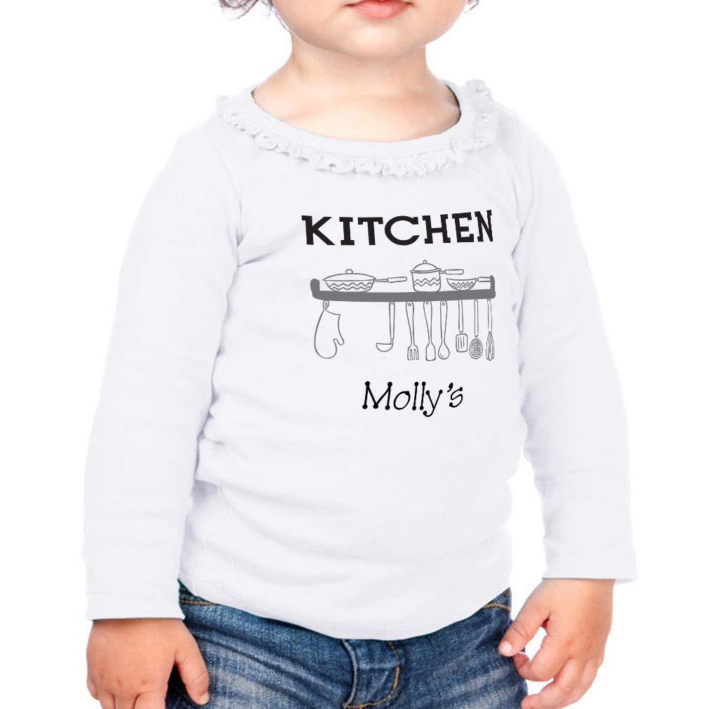 Personalized Kitchen Plates Cotton Girl Toddler Long Sleeve Ruffle Shirt Top