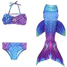 3PCS Girls' Mermaid Tail Swimsuit for Swimming Cosplay Bikini Princess Dress Up