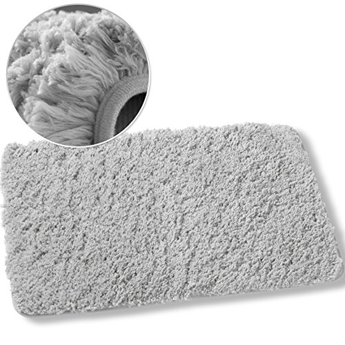 Luxe Plush Shag Bath Mat Rug Non Slip Backing Microfiber Absorbent 19.5 x 31.5 Inch by Luxe