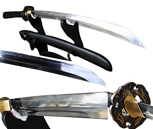 Lyuesword Japanese Handmade Samurai Naginata Sword Full Tang T-10 Carbon Steel Clay Tempered Battle Ready