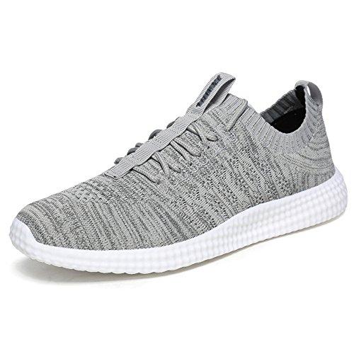 Grau MUOU Sneaker up Turnschuhe Männer Herren Laufschuhe Atmungsaktive Schuhe Wohnungen Mesh Freizeitschuhe Lace rw7YrEq