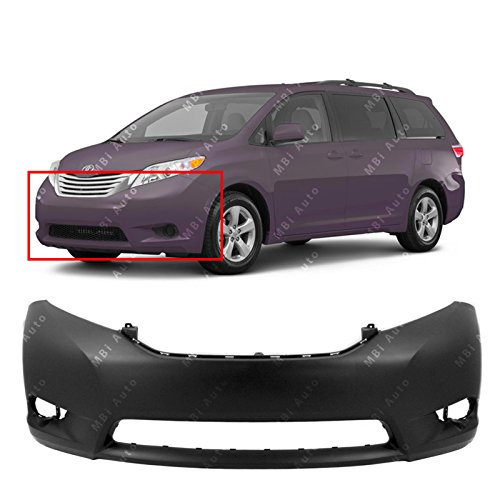 MBI AUTO - Primered, Front Bumper Cover Fascia for 2011-2015 Toyota Sienna 11-15, TO1000369