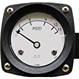 Mid-West 522-AA-02-AO-20P Differential Pressure Gauge with Aluminum Body and 316 Stainless Steel/Ceramic/Acetal Internals, Diaphragm Type, 5% Full Scale Accuracy, 2-1/2