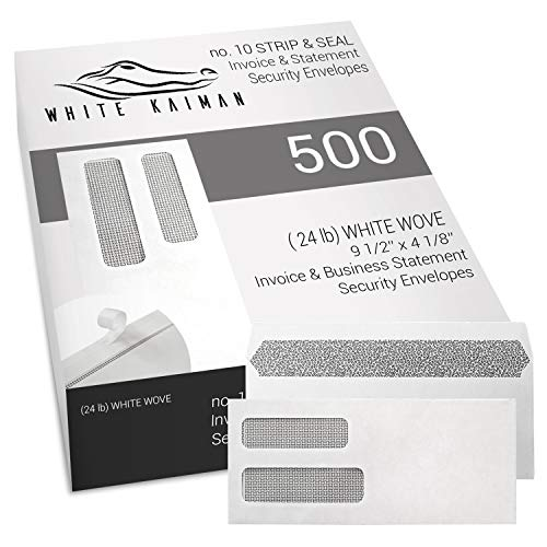 - White KaimanⓇ 500 ct #10 Peel & Seal Double Window Security Envelopes - Designed for Business Invoices and Statements - 9 1/2