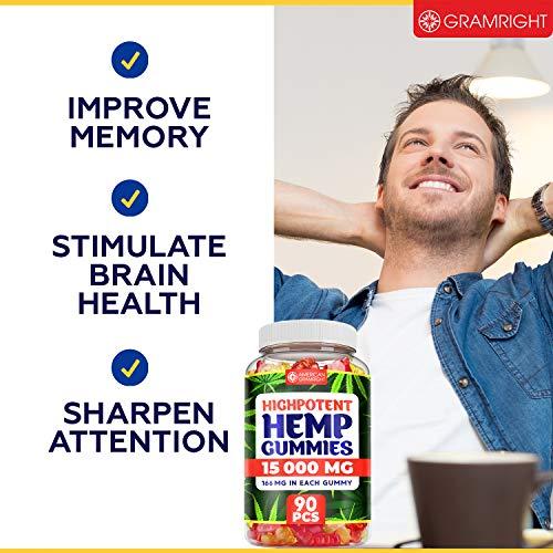 Hemp Gummies 15000 MG - USA Made - Premium Hemp Extract for Anxiety & Stress Relief - Tasty & Relaxing Hemp Oil Gummies - Immunity & Mood Support - Rich in Omega 3, 6, 9-90 PCS, 166 Hemp per Gummy