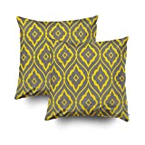 GROOTEY Decorative Cotton Square Set of 2 Pillow Case Covers Zippered Closing Home Sofa Decor Size 18X18Inch Costom Pillowcse Throw Cover Cushion,gray yellow vintage persian ikat