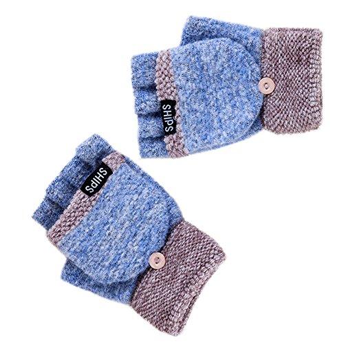 ブルーレディース冬手袋/レディース手袋/暖かいhalf-fingersグローブ