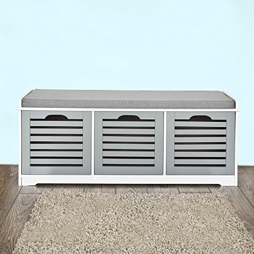 Haotian Storage Bench with 3 Drawers & Padded Seat Cushion, Hallway Bench Shoe Cabinet Mudroom Bench FSR23-WN For Sale