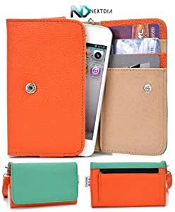 Lenovo A316i Wallet Clutch Protective Case (Seafoam Green Orange) + ND Velcro Tie
