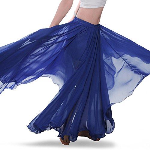 Royal Smeela Womens Belly Dance Skirt ATS Voile Maxi Full Tribal Bellydance Chiffon Skirt, Dark Blue, One Size