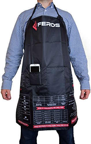 FEROS Cheat Sheet BBQ Aprons - grill times and temperatures printed upside down! Waterproof black apron with white lining - 3 set pockets on front for convenient grilling, cooking, and kitchen chef