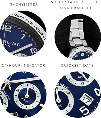 Blue Quartz Chronograph Mens Watch by Stuhrling Original. Solid Stainless Steel Watch Bracelet Watch Band Deployant Clasp. 50 Meter Water Resistant. Stylish gift watches for men. by Stuhrling Original (Image #2)