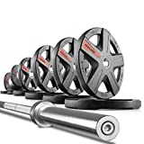 Cheap XMark 7′ Chrome Olympic Bar with 28mm Grip, Medium Knurling, 700 lb. Weight Capacity and 255 lb. XMark Texas Star Olympic Plate Weight Set