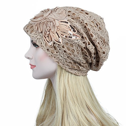Knit Flower Beanie (TINKSKY Fall Winter Hollow Lace Flower Beanie Hat Women Double-Deck Cap Christmas Birthday Gift For Women (Khaki))