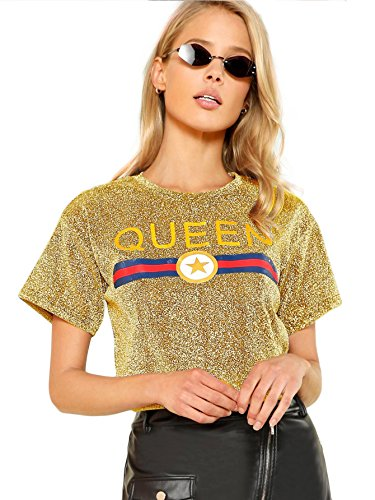 Romwe Women's Casual Graphic Queen Print Glitter Tee Summer Stripe Crop Top Tshirt Gold L