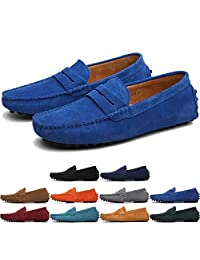 MCICI Men's Penny Loafers Slip-ONS Flats Casual Moccasins Handmade Driving Shoes Suede Leather Boat Shoes Fashion Big Size US6.5-13