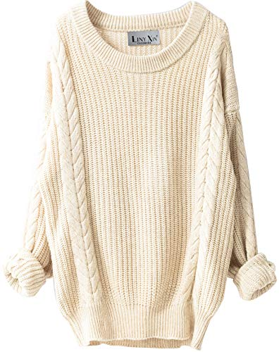 - Liny Xin Women's Cashmere Oversized Loose Knitted Crew Neck Long Sleeve Winter Warm Wool Pullover Long Sweater Dresses Tops (Beige)