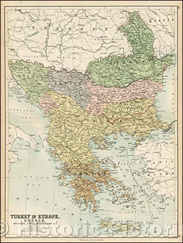 Historic Map | Turkey in Europe, Greece, Roumania, Servia, Montenegro, 1869, Adam & Charles Black | Vintage Wall Art 33in x 44in