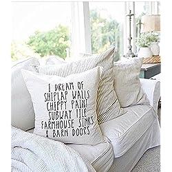 I dream of shiplap Farmhouse Throw Pillow - home decor, cushion cover, throw pillow, seasonal pillow, housewarming gift, 16x16, gift for friend